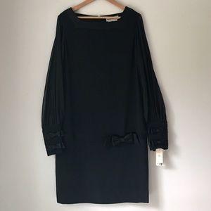 Nipon Boutique Black Sheer Bow Embellished Dress
